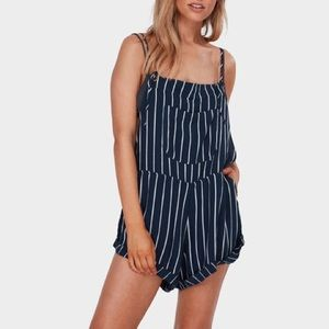Billabong Navy and White Striped Overalls
